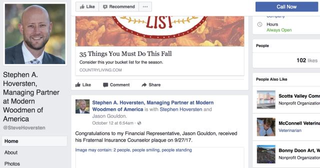 Stephen Hoversten's Public Facebook Post on October 12th, 2017