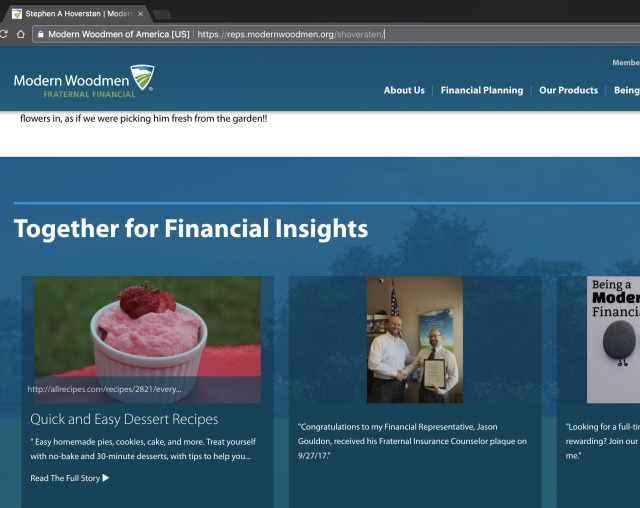 Screenshot of the news posted to Stephen Hoversten's homepage on the Modern Woodmen of America website